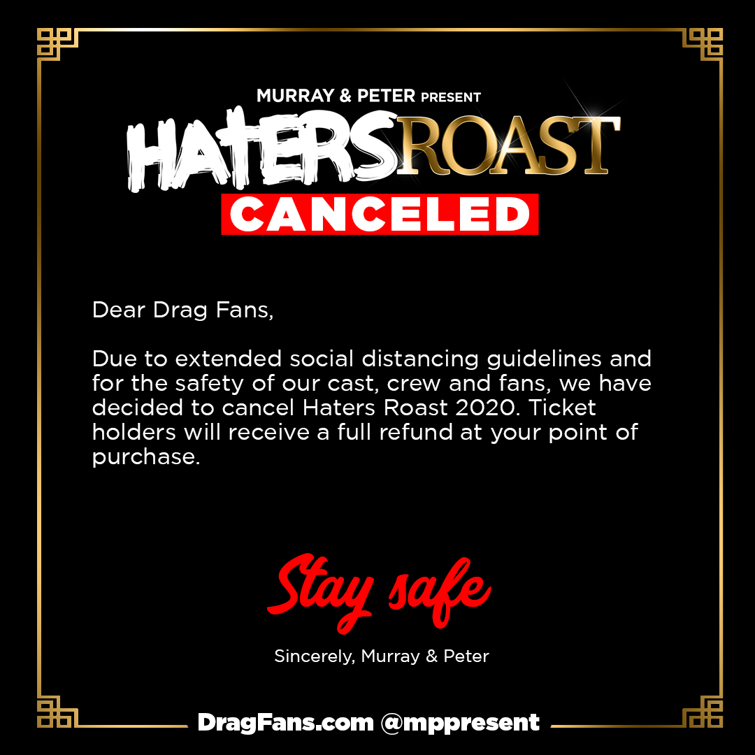 Haters Roast Cancellation Notice