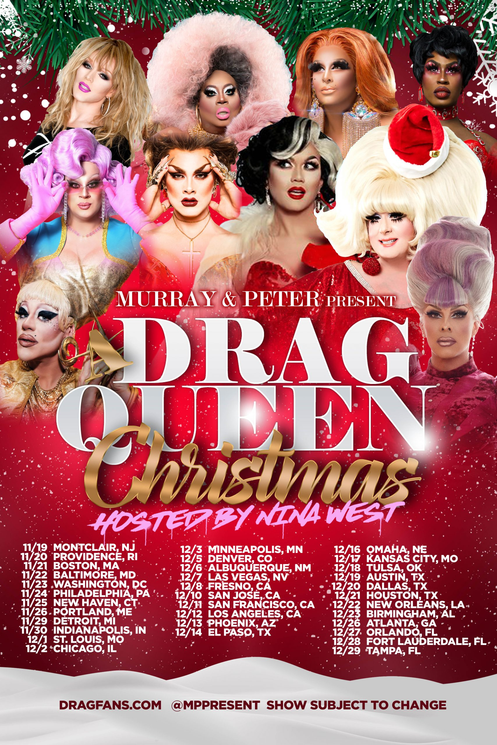 Drag Queen Christmas Ad Mat with Tour Dates